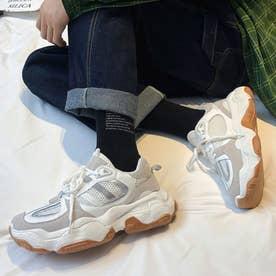 スニーカー メンズ 靴 ランニングシューズ 軽量 (ホワイト)