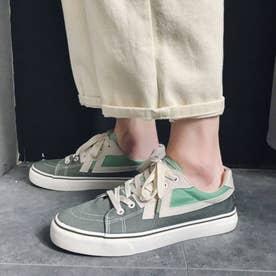 スニーカー メンズ 靴 ブラック (グリーン)
