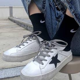 レディース スニーカー 靴 スリッポン シューズ 紐靴 スター 星 レディースシューズ フラット フラットシューズ ぺたんこ (ブラック)