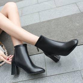 レディース ブーツ ショートブーツ ブーティー 靴 シューズ チャンキーヒール スクエアトゥ シンプル シンプルブーツ (ブラック)