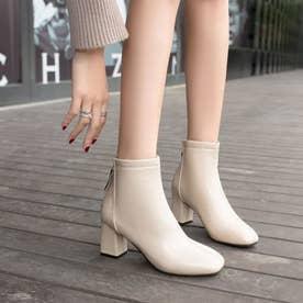 レディース ブーツ ショートブーツ ブーティー 靴 シューズ チャンキーヒール スクエアトゥ シンプル シンプルブーツ (ベージュ)