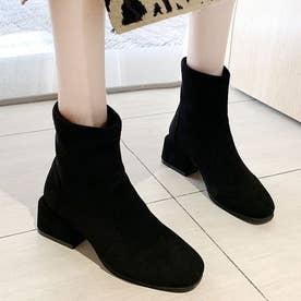 レディース ブーツ ショートブーツ ブーティー 靴 シューズ チャンキーヒール スクエアトゥ スエード スウェード (ブラック)