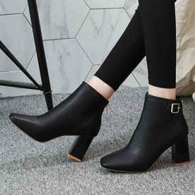 レディース ブーツ ショートブーツ ブーティー 靴 シューズ チャンキーヒール スクエアトゥ ベルトブーツ (ブラック)
