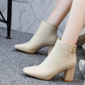 レディース ブーツ ショートブーツ ブーティー 靴 シューズ チャンキーヒール スクエアトゥ ベルトブーツ (ベージュ)