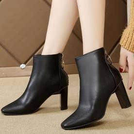 レディース ブーツ ショートブーツ ブーティー 靴 シューズ チャンキーヒール スクエアトゥ (ブラック)