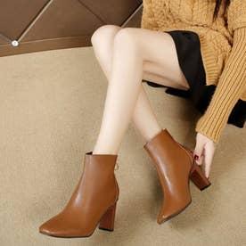 レディース ブーツ ショートブーツ ブーティー 靴 シューズ チャンキーヒール スクエアトゥ (ブラウン)