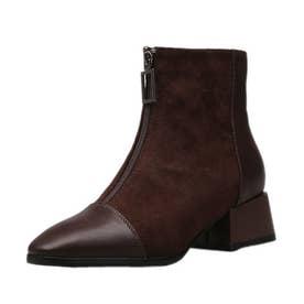 レディース ブーツ ショート 靴 ブーツ ブーティー スクエアトゥ 秋冬 ショート (ブラウン)