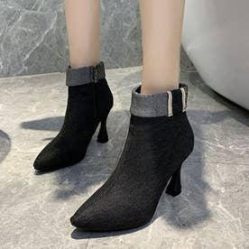 シューズ 靴 ブーツ ショートブーツ ショート ショート丈 ブラック 黒 デニム ブーティー 冬 (ブラック)