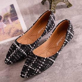 レディース シューズ パンプス 靴 フラットシューズ バレーシューズ ツイード  冬 (ブラック)