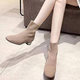 シューズ 靴 ブーツ ショートブーツ ショート ショート丈 ブラック 黒 ニットブーツ ブーティー 冬 (カーキ)