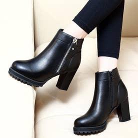 レディース 靴 ブーツ ショートブーツ ブラック チャンキーヒール チャンキー ヒール 厚底 厚底ブーツ