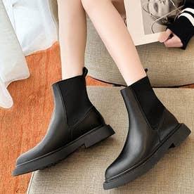 レディース 靴 ブーツ ショートブーツ ショート丈 ブラック サイドゴア ペタンコ カジュアル カジュアルブーツ