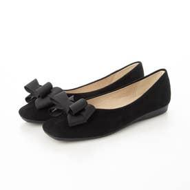 レディース 靴 シューズ パンプス ヒール ローヒール ポインテッドトゥ フラットシューズ ぺたんこ とんがり リボン (ブラック)