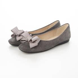 レディース 靴 シューズ パンプス ヒール ローヒール ポインテッドトゥ フラットシューズ ぺたんこ とんがり リボン (グレー)