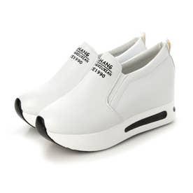 レディース 靴 シューズ 厚底 厚底スニーカー ラバーシューズ レースアップ ソール ローカット インソール インソールスニーカー (ホワイト)