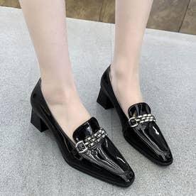 レディース 靴 シューズ パンプス スクエアトゥ 金具 ビットシューズ ヒール ローファー エナメル (ブラック)
