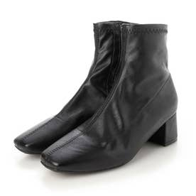 レディース 靴 シューズ ブーツ ショートブーツ スクエアトゥ ベージュ ストレッチブーツ (ブラック)