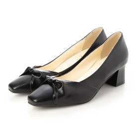 レディース 靴 シューズ パンプス スクエアトゥ とんがり ベーシック フォーマル リボン (ブラック)