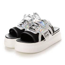 レディース シューズ 靴 サンダル 厚底サンダル つっかけ サボ サボサンダル プラットフォーム (ブラック)