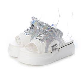レディース シューズ 靴 サンダル 厚底サンダル つっかけ サボ サボサンダル プラットフォーム (ホワイト)
