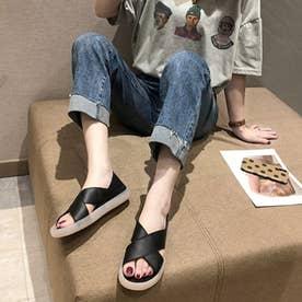 レディース シューズ 靴 サンダル つっかけ ぺたんこサンダル クロスサンダル (ブラック)