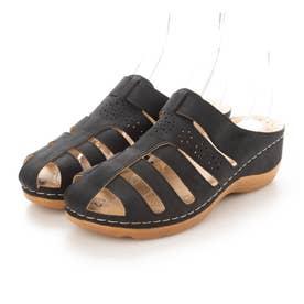 レディース 靴 シューズ サボ サボサンダル ヒール ウエッジ ウエッジサンダル (ブラック)