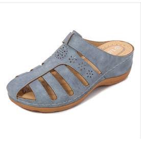 レディース 靴 シューズ サボ サボサンダル ヒール ウエッジ ウエッジサンダル (ブルー)