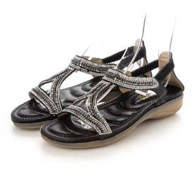 レディース サンダル 靴 バックストラップ ぺたんこ リゾート ストーン ビーチ キラキラ (ブラック)
