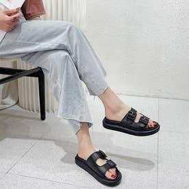レディース サンダル シューズ 靴 つっかけ ぺたんこサンダル ベルトサンダル ベルト (ブラック)
