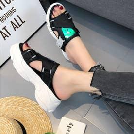 レディース サンダル 靴 シューズ 厚底サンダル スポーツサンダル スポサン スニーカーソール (ブラック)