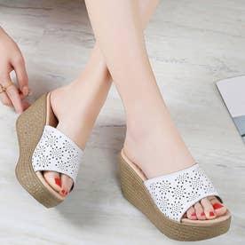 レディース サンダル ウエッジ ウエッジサンダル 靴 つっかけ 厚底 厚底サンダル パンチング (ホワイト)