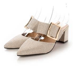 レディース パンプス 靴 シューズ ポインテッドシューズ つっかけ ベルト ベルトサンダル とんがり カジュアル (ゴールド)
