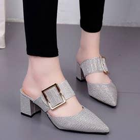 レディース パンプス 靴 シューズ ポインテッドシューズ つっかけ ベルト ベルトサンダル とんがり カジュアル (シルバー)