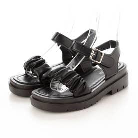 レディース サンダル 靴 春夏 SS ぺたんこ ストラップサンダル 厚底 厚底サンダル シンプル (ブラック)