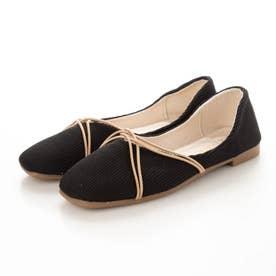 レディース 靴 春夏 SS ぺたんこ フラットシューズ フラット パンプス バレエシューズ バレーシューズ (ブラック)