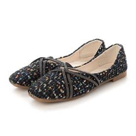 レディース 靴 春夏 SS ぺたんこ フラットシューズ フラット パンプス バレエシューズ バレーシューズ ツイード (ブラック)