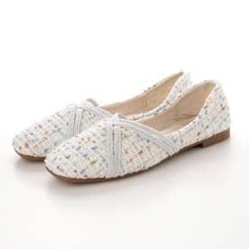レディース 靴 春夏 SS ぺたんこ フラットシューズ フラット パンプス バレエシューズ バレーシューズ ツイード (ホワイト)