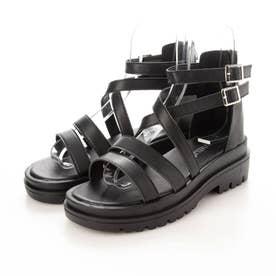 レディース サンダル 靴 春夏 SS ぺたんこ グラディエーター 編み上げ レースアップ 厚底 (ブラック)