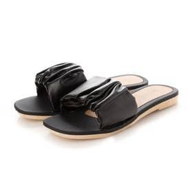 レディース サンダル 靴 つっかけ 春夏 SS ぺたんこ フラットシューズ フラット サボ (ブラック)