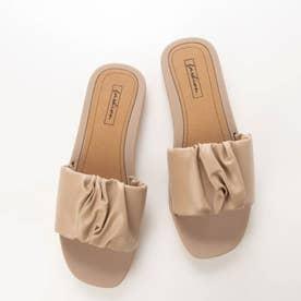 レディース サンダル 靴 つっかけ 春夏 SS ぺたんこ フラットシューズ フラット サボ (カーキ)