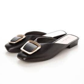 レディース サンダル 靴 つっかけ 春夏 SS ぺたんこ フラットシューズ フラット サボ ミュール (ブラック)