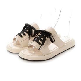 レディース 靴 シューズ 春夏 SS サンダル オープントゥ シャワサン ローヒール ぺたんこ つっかけ レースアップ 編み上げ (ブラック)