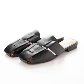 レディース 靴 シューズ サンダル サボ パンプス 春夏 SS サンダル つっかけ デザイン 無地 シンプル (ブラック)