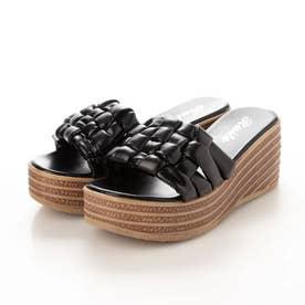 レディース サンダル ウェッジ ウェッジサンダル 靴 つっかけ 厚底 厚底サンダル ウェッジソール (ブラック)