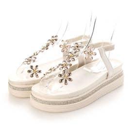 レディース サンダル 靴 バックストラップ ぺたんこ リゾート (ホワイト)