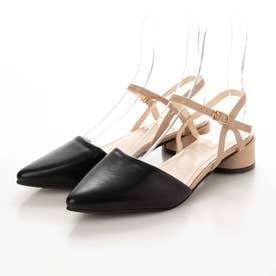 レディース パンプス 靴 シューズ ポインテッドシューズ つっかけ ベルト ベルトサンダル とんがり カジュアル (ブラック)