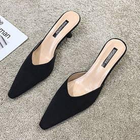 レディース パンプス シューズ 靴 ミュール バックレス ポインテッドトゥ サンダル ローヒール つっかけ (ブラック)