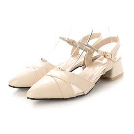 レディース パンプス 靴 シューズ ポインテッドシューズ つっかけ ベルト ベルトサンダル とんがり カジュアル (ベージュ)