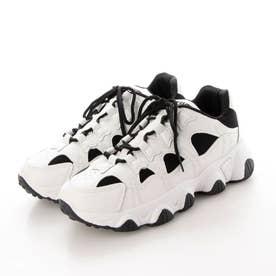 ホワイト スニーカー 厚底 ダッドスニーカー  ダッドシューズ 靴 (ホワイト)