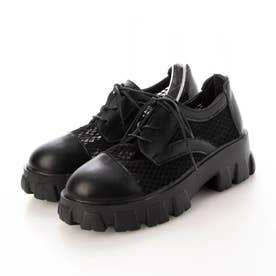 ベージュ ブラック スニーカー 厚底 ダッドスニーカー  ダッドシューズ 靴 スポーツ (ブラック)